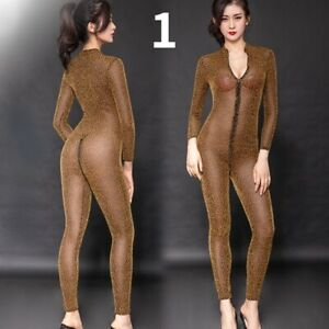 Lady Striped Leopard Print Bodysuit Catsuit Sheer Mesh Zip Crotchless Sexy Slim