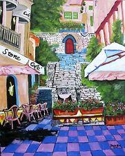Food & Wine CAFE Original Art PAINTING DAN BYL Impressionism Huge 4ft x 5ft