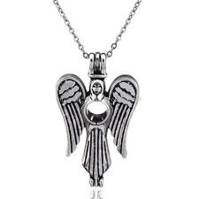 V51 Vintage Alloy Wing Fairy Angel Locket Necklace Pearl Cage Steel Rolo Chain