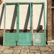 vecchia grande porta vetrata vetrina a tre ante in legno massello