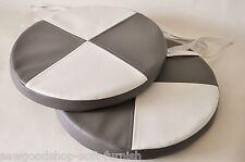 """2 Sedia Sala Da Pranzo Rotondo Sgabello cuscini imbottitura del sedile grigio e bianco in finta pelle 17"""""""