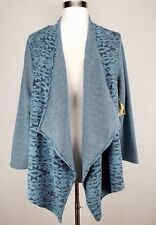 ONE WORLD WOMEN'S BLUE BLACK LONG SLEEVE OPEN FRONT COZY CARDIGAN PLUS Sz 2X