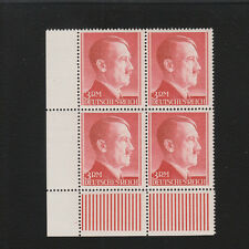 Nazi Germany Mint Never Hinged Block of 4 Hitler Head 3Rm Perf 14 & Selvage  E