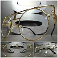 CLASSIC VINTAGE 70's RETRO Style Clear Lens EYE GLASSES Round Gold Fashion Frame