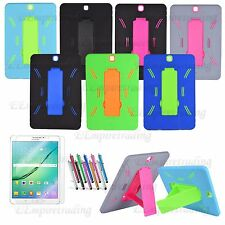 "Samsung Galaxy Tab S2 / S3 9.7"" Hybrid Heavy Duty Kickstand Hard Soft Case Cover"