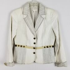 Coldwater Creek cotton and linen beige and brown blazer size 4