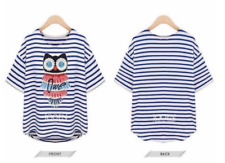 #A250 Diamond Owl Print Blouse - Blue Stripes