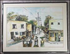 Vintage 1981 Errol Allen 1960-2012 Jamaica Caribbean Street Scene Watercolor