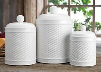 Set Of 3 White Round Basket Weave Embossed Canisters GB