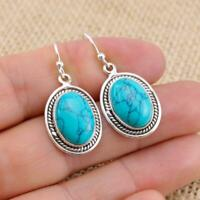 Turquoise 925 Sterling Silver Oval Drop Earrings Indian Jewellery