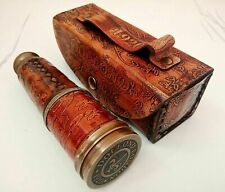 ANTIQUE BRASS TELESCOPE MARINE NAUTICAL VINTAGE LEATHER PIRATE SPYGLASS SCOPE