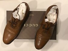 GUCCI Size 9-1/2  Wing-Tip Lace Up Shoes Knight Calf Cuir