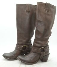 Frye Carmen Tall Harness Brown Slouch High Heel Riding Boots Womens Sz 6