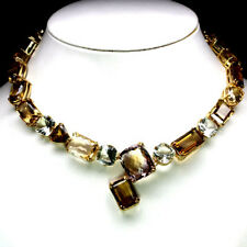 """REAL18X24 mm  AMETRINE ,CITRINE AND WHISKY QUARTZ,..925 SILVER NECKLACE 18"""""""