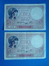 2X BILLETS 5 FRANCS MINERVE ZO.13=7=1939 Même Série N.58518 / French Money