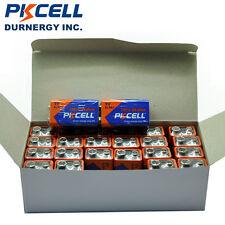 100 pcs PKCELL Industrial 9 Volt 9V 6LR61 Alkaline Batteries EN22 6LR61 1604