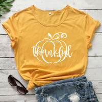 Thankful Pumpkin T-Shirt Autumn Women Graphic Thanksgiving Holiday Tee Shirt Top