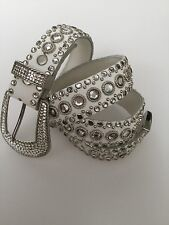 'KIPPYS' HANDMADE DESIGNER WHITE LEATHER SWAROVSKI CRYSTAL STUDDED BELT COWGIRL