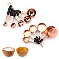 Measuring Cups Spoons Set Rose Gold Coffee Tea Kitchen Baking Cooking Tools~