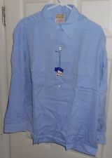 NOS 50's BETTER HOMES Blue + Flap Pockets! Loop Collar! Gabardine ROCKABILLY LXL