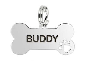 Medium Personalised Sterling Silver Bone Shaped Dog Name Tag with Pawprint MYLEE