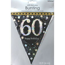 SPARKLING CELEBRATION 60TH BIRTHDAY PARTY FLAG BANNER DECORATIONS 4M