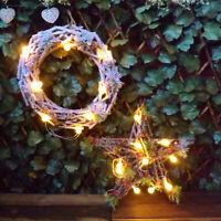 Alpine Snow Spruce Cone Berry Light Up Round Wreath / Star Christmas Decoration