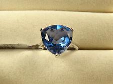 8.56Ct Colour Change Fluorite 13mm Trillion 925 Sterling Silver Ring Size L-M/6