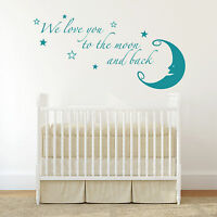 We Love You To The Moon And Back Bedroom Nursery Wall Sticker Art Vinyl Transfer