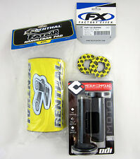 "Renthal Yellow 1-1/8"" Fat Bar Pad Donuts Black ODI Ruffian MX Grips RM RMZ DRZ"