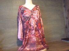 Women's EUC  Floral Sublimation Print Studded Blouse 3/4 SLEEVES SIZE 2X  ~ BLEU