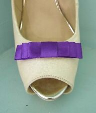 2 Small Purple Triple Bow Clips for Shoes - other colours on request