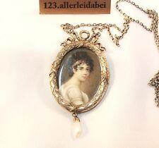 Rarität T. Fahrner Collier Kette Medaillon Lupenmalerei 935 Silber  / AN 299