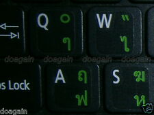 High Quality  THAI KedmaneeTRANSPARENT Keyboard Stickers GREEN Letters