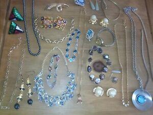 Vintage Costume Jewellery Mixed Lot Earrings Bracelets Necklaces Earrings