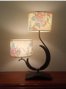 Mid Century Modern 1950s Large Two Armed Majestic Table Lamp.
