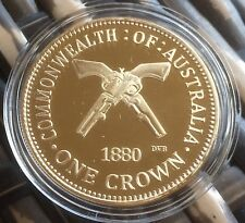 One Crown Ned Kelly Commonwealth Of Australia Coin Finished In 24k Gold 1oz .999