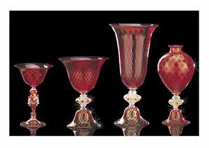Florero Veronese Tazas Cristal de Murano Rojo Trenzada Oro Made IN Italy