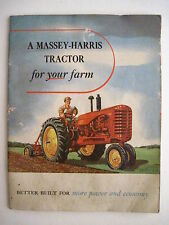 """Colorful Vintage Brochure for """"Massey-Harris Tractors for Your Farms"""" *"""