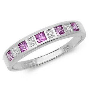 9ct White Gold Pink Sapphire and Diamond Eternity Ring, Sizes J to Q (217wps)