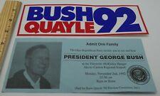 BUSH QUAYLE 92 Bumper Sticker+PRESIDENT GEORGE BUSH event ticket Akron Ohio GOP