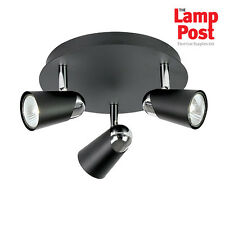 Saxby Endon EL-10053 Civic 3 Light Round Spot Light 50W - Matt Black Finish