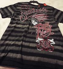 South Pole Men's Large Tee Black With Gray Stripes~ Skull&Snakes~Truth & Liberty