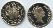 GS686 - Gibraltar 2,8 Ecus 1992 (2 Pounds) KM#293 Ritter auf Pferd