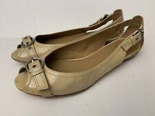 Stuart Weitzman Womens Flats Open Toe Peep-toe Shoes Sz 7 Patent Leather Beige