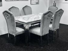 Louis Grey Marble Dining Table 160cm + 6 Grey Plush Velvet Dining Chairs Knocker
