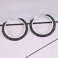 Fashion Women Lady Crystal Diamante Rhinestone Hoop Big Round Earrings BL3