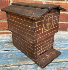 Fabulous Small Antique Bee Hive With Paint Decoration Brick, Signed Square Nails