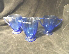 Cobalt Blue Newport Hairpin Depression Glass 2 Sugar Bowls 1 Creamer Mint