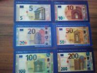 Euro Scheine / Hologramkarten Anschaungskarten Sicherheitsmerkmale